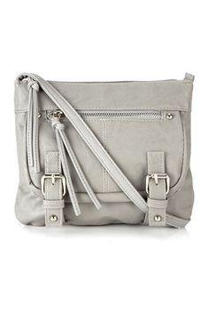 Grey Mini Zip X Bag from Wallis