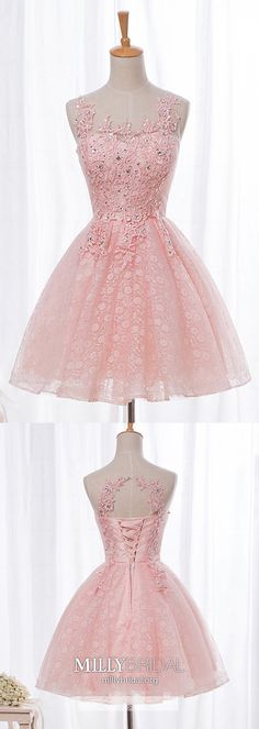 Pink Homecoming Dresses A Line, Short Prom Dresses Lace, Elegant Cocktail Dresses Tulle, Modest Sweet Sixteen Dresses For Teens Vintage Homecoming Dresses, Pretty Prom Dresses, Pink Prom Dresses, Modest Dresses, Party Dresses, Evening Dresses, Amazing Dresses, Graduation Dresses, Pageant Dresses
