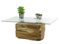 Mesas de tresillo - Teak Design Coffee Table Root Ball Glas 60 - hecho a mano por Picassi_de en DaWanda