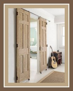 substitute plumbing pipes overhead and put rolling casters on the bottoms of this pair of recycled doors. Total cost including the doors was $78.00. Content in a Cottage