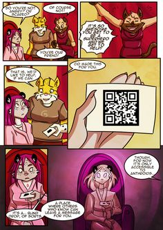 Page 24 - Wait... All this future tech, and they're still using QR codes?  #heykitty #anthroidsrise #webcomic #furry #illusionofchoice