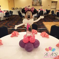 Minnie Mouse first birthday balloon centerpiece. #partywithballoons