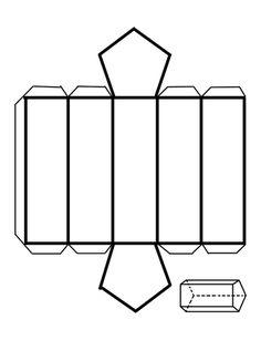Como fazer um prisma com base pentagonal - 5 passos Teaching Geometry, Geometry Activities, Origami Paper Art, Paper Crafts, Prisma Pentagonal, Paper Box Template, Printable Shapes, Geometry Shape, Geometric 3d