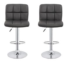 2 x Homegear Contemporary Adjustable Swivel Faux Leather Bar Stools Black This contemporary block chair design is made with a clean cut form that is refined Extra Tall Bar Stools, Bar Stools With Backs, Counter Height Stools, Counter Top, Adjustable Bar Stools, Swivel Bar Stools, Cool Chairs, Bar Chairs, High Chairs