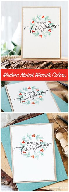 Comparing classic and modern color schemes for a CAS Christmas wreath design. Find out more about these cards by clicking on the following link: http://limedoodledesign.com/2016/09/classic-or-modern-christmas-wreath-color/