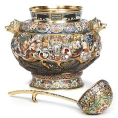 An Extremely Rare Russian Gilded Silver and Shaded Enamel Pictorial Punch Bowl and Ladle, Feodor Rückert, Moscow, circa 1910