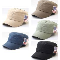 Compass Print Star-Spangled Banner Vintage Army BallCap, Cadet Military Hat