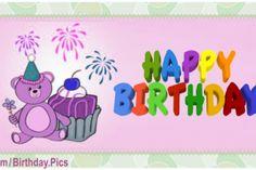 Purple Teddy Bear Happy Birthday Card