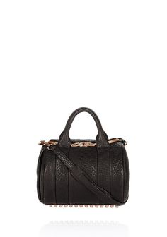 66c0369a64 ROCKIE IN PEBBLED BLACK WITH ROSE GOLD - Shoulder Bags Women - Alexander  Wang Online Store