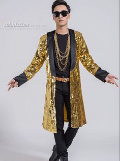 Multicolor Sequins Long Style Men Jacket Costume Nightclub Bar Singer Dancer Luxury Outfit Coat Stage Dj Ds Performance Clothes Fragrant Aroma Jackets Men's Clothing
