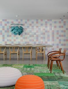 DM House by Studio Guilherme Torres. I love the wall- it almost looks like a tile backsplash for a kitchen