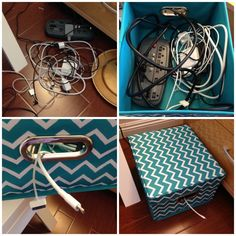 Maybe use this idea for all the cords under Justin's desk. Maybe stack a few boxes and cut hole in tops and bottoms to snake cords through.