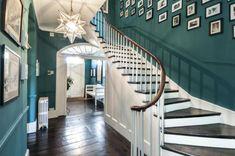 "hallway green and dark floors ""RT if this looks like your dream home! Inexpensive Flooring, Unique Flooring, Best Flooring, Brick Flooring, Dark Flooring, Penny Flooring, Ceramic Flooring, Linoleum Flooring, Basement Flooring"