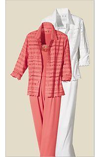 Special Value! Eyelet Entre Deux Big Shirt Separates, like reef blue option