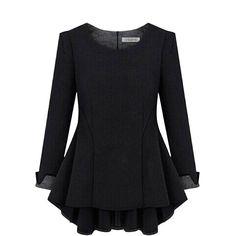 Lady Slim Fit Frill Peplum Shirt Linen Long Sleeve Blouse Tops Plus Size 4XL