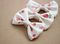"4"" floral fabric hair bow, hairbow clip, pink flowers, pink and white bow, medium hair bow, hair bow clip, hairbows for teens girls women on Etsy, $3.49"