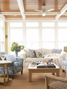 """By not painting it out like the beams, this ceiling becomes a feature in the room... love the blue & white too.  Favorite """"PINS"""" Friday!   Beneath My Heart"""