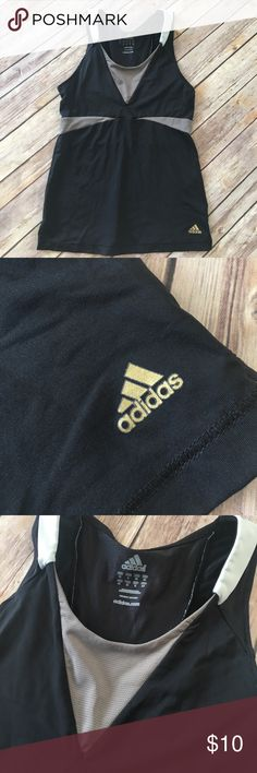"""Adidas - Black Sport Tank. Adidas - Black Sport Tank. Black and grey tank with """"breathable"""" design and gold Adidas logo. Adidas Tops Tank Tops"""
