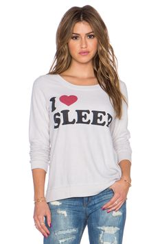 Chaser I Heart Sleep Sweatshirt in Antique White