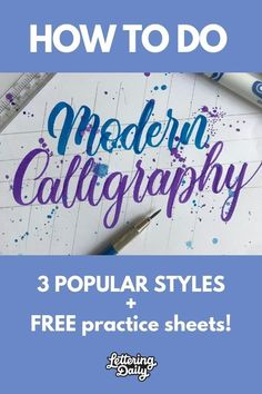 How To Do Modern Calligraphy Popular Styles 2019 Lettering Daily Modern Calligraphy Tutorial, Modern Calligraphy Alphabet, Hand Lettering Alphabet, Hand Lettering Tutorial, How To Write Calligraphy, Calligraphy Practice, Calligraphy Art, Graffiti Alphabet, Islamic Calligraphy
