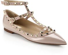 Valentino Rockstud Leather Cage Flats on shopstyle.com