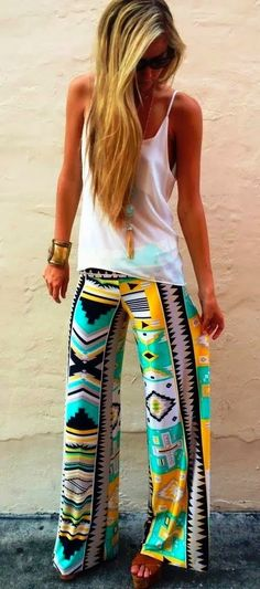 Tribal aztec bright printed patterned wide leg palazzo pants.  Get a similar pair of printed palazzo pants only $14.99.