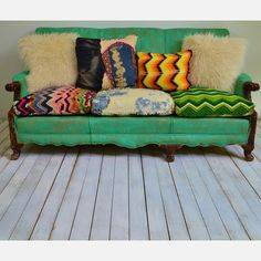 Love these colors....have to recover the couchs back cushions this summer....maybe fun bright colors like this...