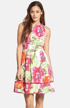 Free shipping and returns on Eliza J Floral Print Cotton Sateen Fit & Flare Dress at Nordstrom.com. When is a dress more like a garden party? When gorgeous blooms bring vibrant color to a classically feminine fit-and-flare dress rendered in polished cotton sateen and detailed with topstitching, ribbon trim and a gracefully arched back cutout.