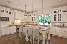 Traditional Kitchen with Inset cabinets, Van Dyke's Designs Of Distinction English Country Large Column Island Leg, L-shaped