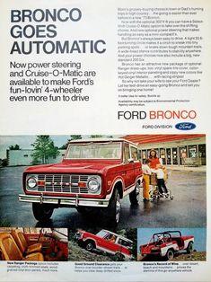 """1966 Ford Bronco Van V8 Power Original Print Ad 9 x 11 /"""""""