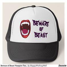 aecb0307118 Beware of Beast Vampire Teeth Demon Fangs Horror Trucker Hat Teeth, Horror,  Beast,