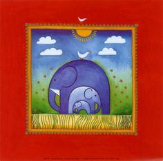 Premium Giclee Print: Elephants by Linda Edwards : Elephant Family, Elephant Love, Little Elephant, Elephant Art, Elephant Theme, Elephant Poster, Decoupage, Nursery Wall Art, Framed Artwork