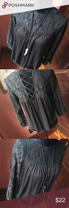 Ralph Lauren NEW Black Lace Top New With Tags! Black cotton lace top with cross strap detail by Ralph Lauren Denim Supply. Size S. Tops Blouses