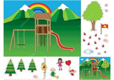 Playground Paper Collage from Paper Collage category. Hundreds of free printable papercraft templates of origami, cut out paper dolls, stickers, collages, notes, handmade gift boxes with do-it-yourself instructions.