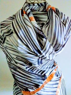 White Shawl, Silk Shawl, Rolled Hem, Pure Silk, Silk Satin, Wearable Art, Evening Dresses, Pure Products, Black And White