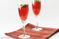 Virgin Pomegranate and Cranberry Bellinis