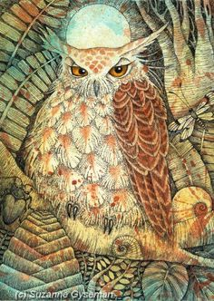 O is for Owl Love this Suzanne Gyseman wise but grumpy owl