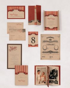 Hochzeitspapeterie in Rot auf Kraftpapier mit Zirkus- und Jahrmarkt-Thema – Red on kraft paper wedding stationary with circus and fair theme – www.weddingstyle.de