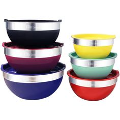 Elite - Maxi-Matic Elite Gourmet 12-Piece Mixing Bowl Set - Black/Blue/Green/Purple/Red/Silver/Yellow