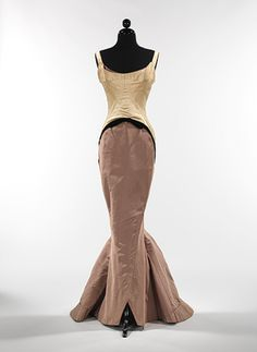 """Diamond"" evening dress, 1957  Charles James (American, born Great Britain, 1906–1978)  Silk: ivory satin: mushroom gros de londres; black velvet"