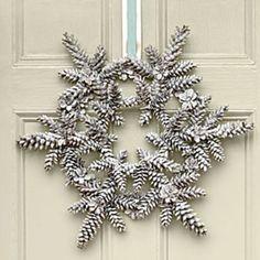 SNOWFLAKE PINECONE wreath DIY