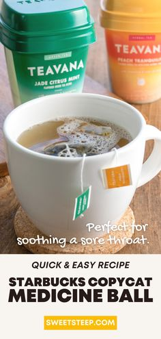 See what's in a Starbucks Medicine Ball tea and use this easy recipe to make this throat-soothing, cold buster tea drink at home. #medcineball #medicineballtea #starbucksrecipe #howtomake #athome #diystarbucks #homemade #diy #starbuckscopycat Starbucks Cold Buster, Starbucks Tea, Starbucks Secret Menu, Starbucks Recipes, Tea Recipes, Copycat Recipes, Drink Recipes, Healthy Recipes, Starbucks Medicine Ball Recipe