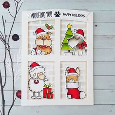 These cuties  want to woof you happy holidays !!! .  #stamps and #dienamics from #mftstamps #birdiebrown #Christmascard #Christmascards #holidaycards #holidaycard #christmascard2016