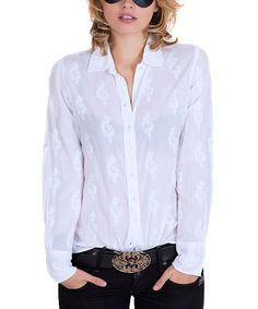 Another great find on #zulily! Cino White Semisheer Paisley Button-Up by Cino #zulilyfinds