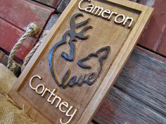 Personalized Couples name Sign CARVED Custom by Lovejoystore