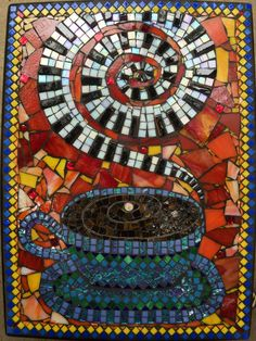 Mosaic Side Table Coffee and Music