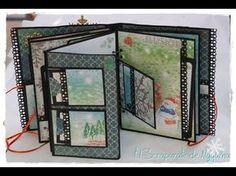 Album de Navidad - YouTube Diy Mini Album, Mini Albums Scrap, Mini Album Tutorial, Mini Scrapbook Albums, Scrapbook Layouts, Papel Scrapbook, Handmade Books, Book Making, Bookbinding