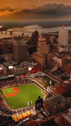 Midtown Memphis Tennessee. Featuring the Red Birds Baseball Stadium -- AAA team of St. Louis Cardinals.