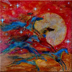 """""""The Horse Catcher with Moon"""" acrylic on canvas, Bernie Granados (Apache heritage)"""