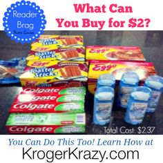 Reader Brag! Check out this fantastic haul Laura scored at Kroger! ALL this for ONLY $2.37! That is Crazy Awesome! Head over to KrogerKrazy.com and you can learn how to be a Kroger Rock Star too! #Kroger